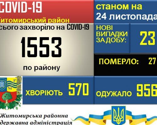 Ситуація з COVID-19 У Житомирському районі станом на 24.11.2020