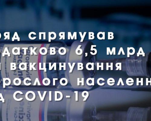 Уряд спрямував додатково 6,5 млрд грн на вакцинування дорослого населення від COVID-19